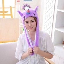 Cute Unicorn Plush Hat Ear Shape Can Move Cap Plush Gift Dance Toy Velvet
